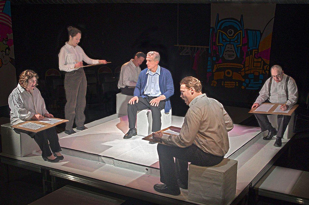 "Rick Espaillat, center, as Jack Kirby, and the ensemble in ""King Kirby,"" being staged by Ghostlight Theatricals"